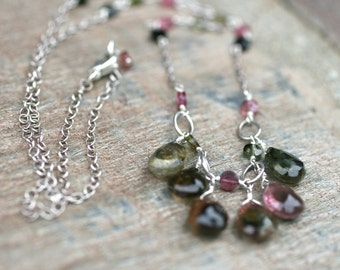 Pink and Green Tourmaline Gemstone Sterling Silver Handmade Necklace 22 Inches