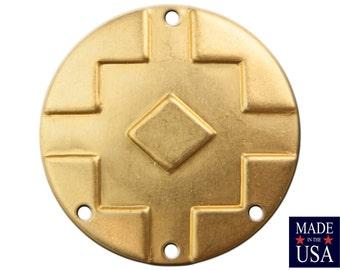 4 Hole Raw Brass Southwestern Drop / Pendant 25mm (4) mtl474C