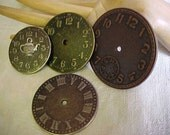 4 METAL Disks, made to look like WATCH FACES--to use in Mixed Media, Altered Art, Assemblage, Collage, Jewelry making and other forms of Art