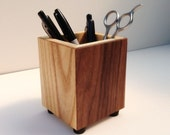 Pencil Cup, Pen Cup, Square Modern Wood School or Office Desk Organizer, for Office Tools and School Supplies