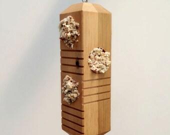 Bird Feeder, Small Bird Feeder, Wooden Bird Feeder, Hanging Bird Feeder, Recycled Bird Feeder for Suet Cakes