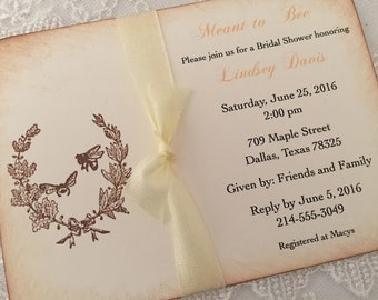 Meant to Bee Invitation Bridal Shower Honey Bee Invite Set of 10