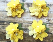 Wool Blend Felt Flower Mum Trios - Yellow Ombre - 4 Mum Trios