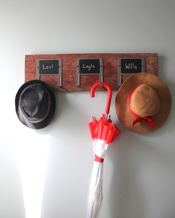 Red Barn Wood Chalk Label Hook Rack