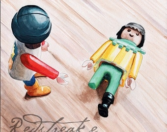 Dude, where's your leg? Playmobile fun kid art ORIGINAL watercolor painting by Redstreake