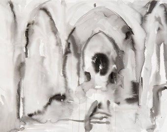 Architectural Ink Wash Drawing -  Framed Black and White Wall Art