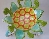 crazy fun colorful pottery Serving Bowl with striped legs :) hand-painted Turquoise & Tangerine Alice-in-Wonderland ceramic flower dish