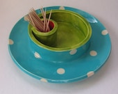 whimsical pottery Olive Serving Plate ceramic fired lime green, bright red & Turquoise w/ polka-dots