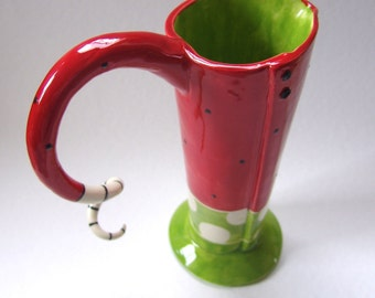 Pottery Pitcher or Vase :) Whimsical watermelon red & lime green with polkadots
