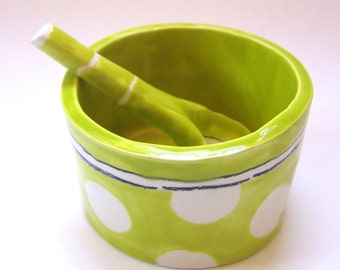 whimsical pottery Serving Bowl w/ handmade ceramic spoon bright chartreuse polka-dots, salt dish, condiment dish