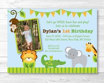 Jungle Animal Safari Birthday Invitation PRINTABLE