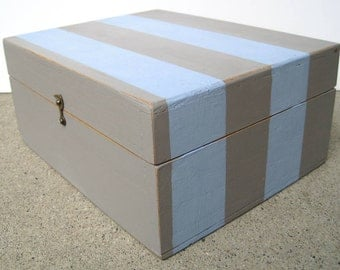 Gray and Blue Striped Handpainted Wooden Storage Box with Viintage Map Interior