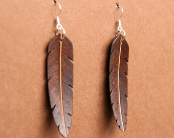 Handcarved Black Walnut and Maple Wood Leaf / Feather Earrings J150720