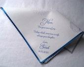 Wedding handkerchief favor, hydrangea flowers, mother of the bride gift