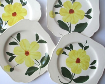 Vintage Blue Ridge Southern Potteries Yellow Green Floral Square Salad Plates Set of Four