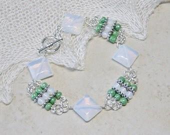Sea Opal Bead Bracelet, Silver Beaded Bracelet, Green Bead Bracelet, Boho, Sea Opal Beads, Beaded Ladder Bracelet, Summer Bracelet