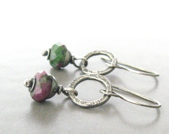 ruby zoasite and silver dangle earrings, rustic oxidized earrings, metalwork and stone earrings