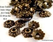50 Antique Bronze Bead Caps Antique Flower Tibetan Style LF/NF 7mm - 50 pc - F4113BC-AB50 - Select Qty