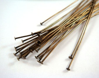 25 3 inch Headpins Antique Gold (7.6cm) Plated Brass, 21 Gauge - 25 pc - F4001HP-AG325