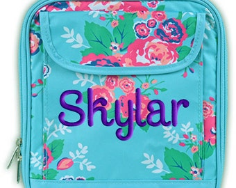 Personalized Lunch Bag Floral Monogrammed Girls School Snack Box