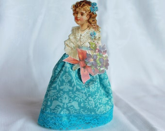 Victorian Girls Dolls, Vintage inspired paper and cloth doll, Handmade cloth and Paper Doll