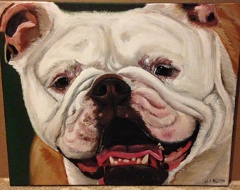 Pooch Art, Pet portrait acrylic on canvas commission custom work 16x20