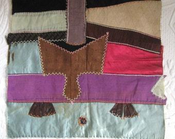 Crazy Quilt Panel . Hand Embroidered Crazy Quilt  . crazy quilt . Fiber Art . Abstract Fiber Art . crazy quilt . decorative pillow