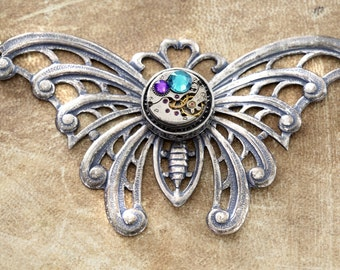 Steampunk Butterfly Necklace - Watch Movement with purple and zircon blue swarovski crystal