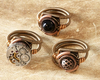 7th anniversary special sale - 3 Steampunk Rings - Custom Size - Gift for him