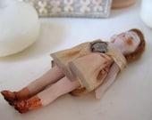 Antique German Dollhouse Bisque Flapper Doll with Silk Dress