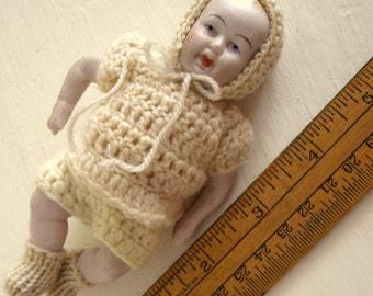 Doll German Antique Jointed Bisque Baby in a Knitted Bunting 5 Inches Jointed 0109 Clover Mark