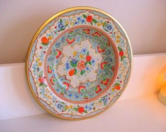 Vintage Daher Pink Rose Tin Tray Bowl