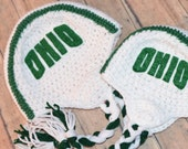 Ohio College Team Color Green and White Hat - All Sizes Available - Newborn to Adult
