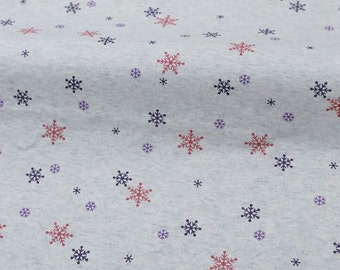 4061 - Snowflake Cotton Jersey Knit Fabric - 66 Inch (Width) x 1/2 Yard (Length)