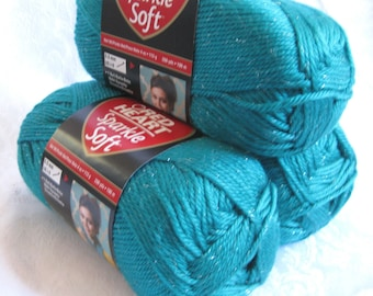 Red Heart Sparkle Soft yarn, DYNASTY, medium worsted weight, turquoise teal shade