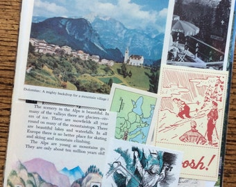Let's Travel To The Italian Alps - The Dolomites Vintage Italy Collage, Scrapbook and Planner Kit Number 1841