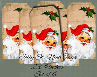 Instant Download  Jolly St. Nick Hang Tags  - 2 X 4 inches  -  Printable Digital Collage Sheet - Digital Download