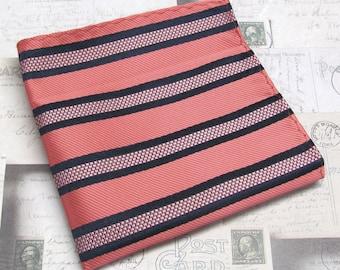 Pocket Square Coral Navy Blue Stripes Hanky