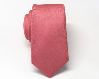 Mens Ties. Coral Paisley Mens Skinny Necktie. Wedding Ties