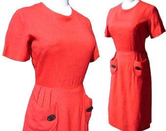 Vintage 60s Dress Red Linen Novelty Pockets & Buttons M