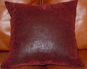 SALE     Red/Black Faux Leather and Corduroy Throw Pillows