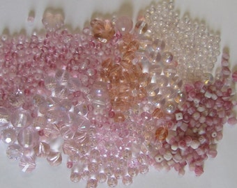 Large Pile Pink Glass, Bead Mix Glass, Faceted Cone and Round, Destash Sale Britz Beads Supply
