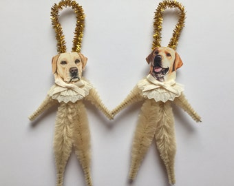 LABRADOR RETRIEVER ornaments dog ORNAMENTS yellow lab ornaments vintage style chenille ornaments set of 2