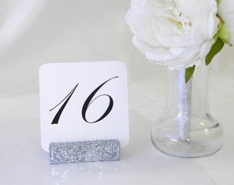 Glitter Table Number Holders +Silver Wedding Table Card Holder + Silver glitter table card holder (Set of 10)