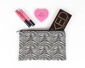 Black and White Zebra Tiger print makeup bag