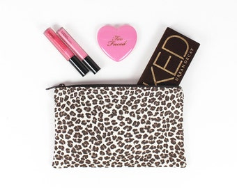 Brown and Cream Leopard print makeup bag - In Stock Ready To Ship