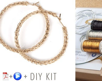 BOHO HOOP Earrings Pattern DIY Kit, Crochet earrings, Jewelry Making kit, Crochet Pattern Kit, Gypsy Bohemian hoops Pattern, Gift For Her
