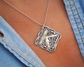 Monogram Jewelry, Initial Pendant, Wax Seal Stamp Necklace, A B C D E F G H  I J K L M N O P Q R S T U V W X Y Z Vintage Letters