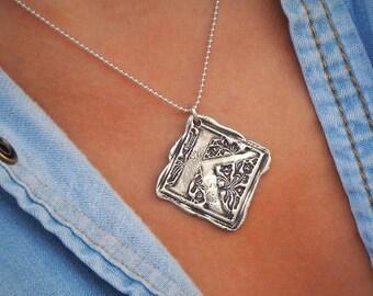 Wax Seal Jewelry, Wax Seal Initial Pendant, Wax Seal Stamp Necklace, A B C D E F G H  I J K L M N O P Q R S T U V W X Y Z Initial Letters