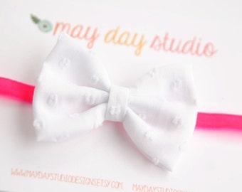 newborn baby toddler girls fabric bow headband - white dot fabric bow on neon pink velvet elastic headband